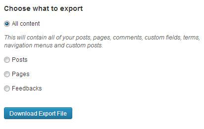 export semua kontent
