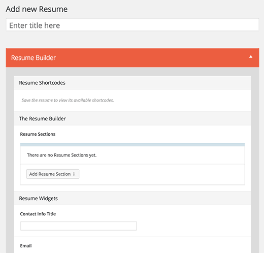 create new resume
