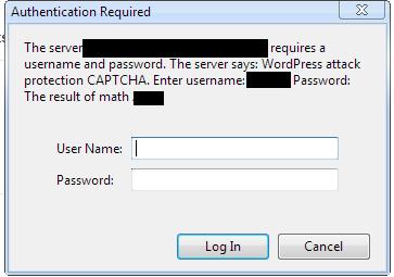 contoh popup tambahan keamanan wordpress