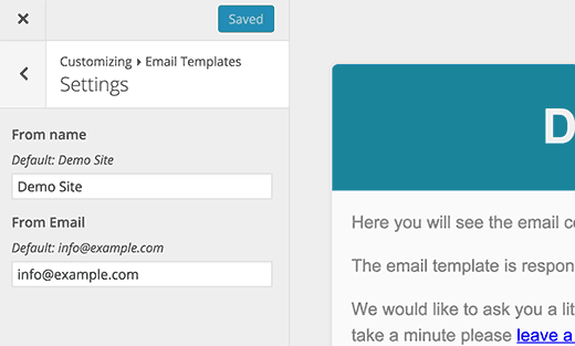 email template settings