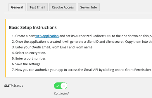 connected smtp gmail