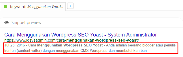 Panduan WordPress SEO Yoast - meta descriiption