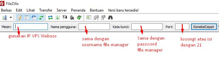 detil login ftp filezilla webuzo