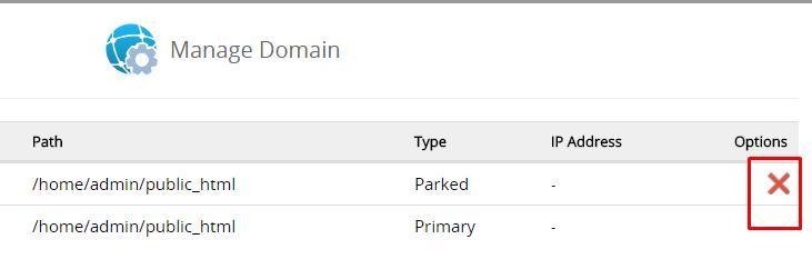 Hapus Domain Utama