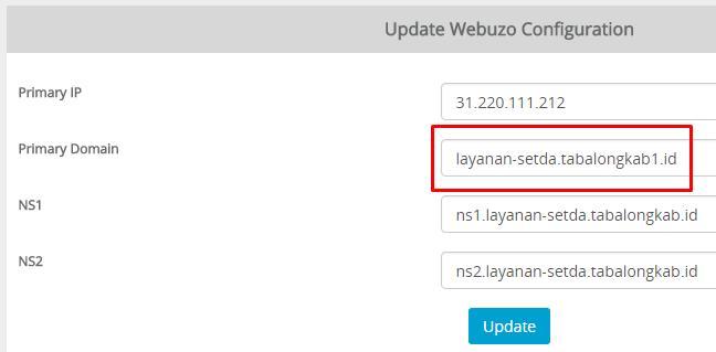 Ubah domain utama webuzo