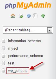 pilih database wordpress
